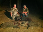 kyle and bryce from glen pool ok with 2 of their 4 hogs killed at all about u ranch and outfitters 10/2011