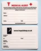 Sleep Apnoea Medical Card for Wallets/Purses