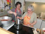 stirring the jam