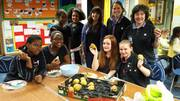 Brondesbury Girl Guides making chocolate pears