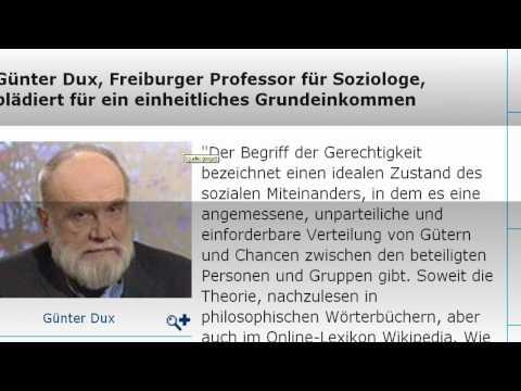 Soziologe Prof. Dux fordert das bedingungslose Grundeinkommen (2/2)