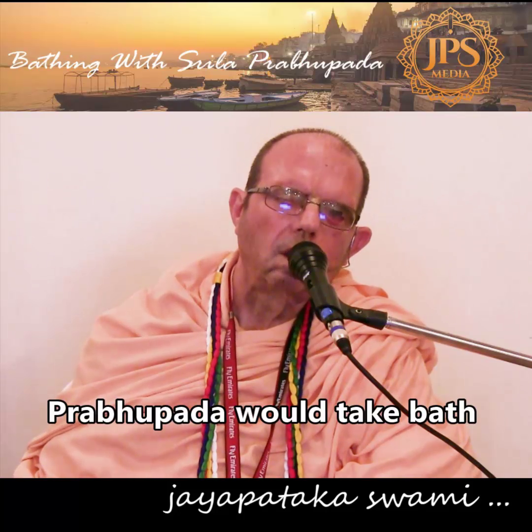 Bathing with Srila Prabhupadha
