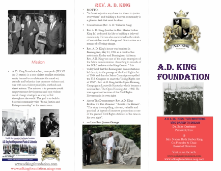 A D King Pamphlet- About A D King Foundation