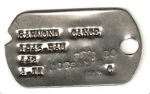 Plaque d'identité américaine RCCC 1944