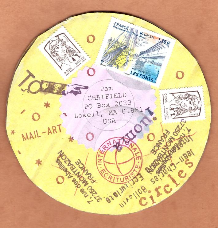 "to Pam Chatfield ""circles"", verso"