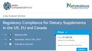 Baltimore Conference on Regulatory Compliance for Dietary Supplements in the US, EU and Canada at Maryland