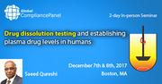 Drug dissolution testing and establishing plasma drug levels in humans 2017