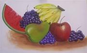Quadro de frutas  aplicação  de vidro líquido