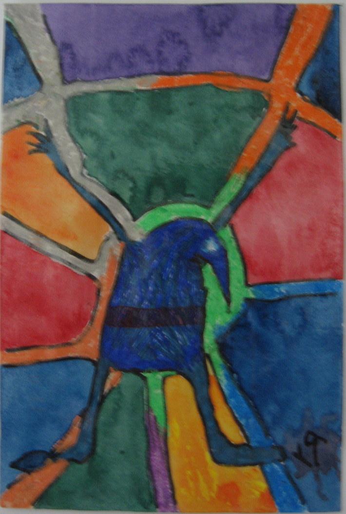 Bird on Watercolor Wheel