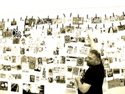Keith Buchholz looking at the mail art