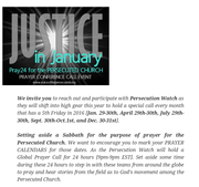 Praying Justice for the Persecuted Church Every 5th Friday in 2016