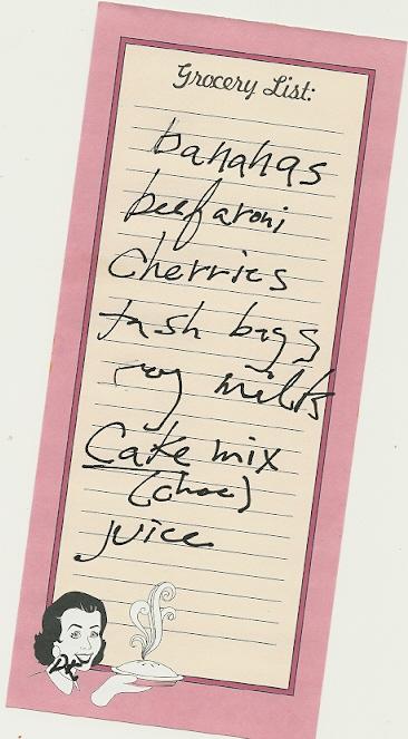 Fake Diane Keys Grocery List