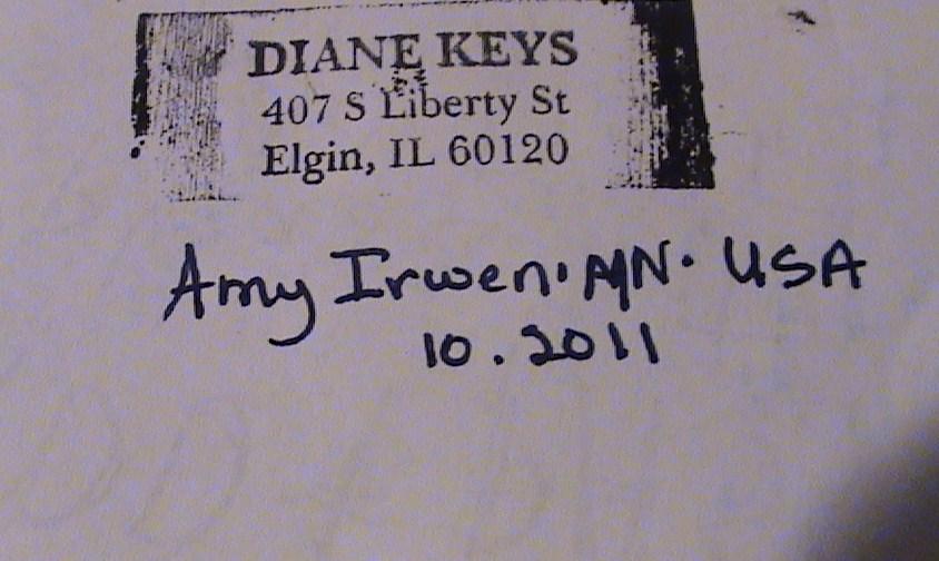 Mail Art Received 10 24 11 Amy Irwen Project Trashpro A