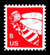 """B"" stamp design by Edwin Diggs, circa 1977."