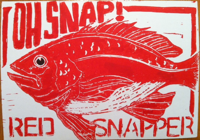Oh Snap! Red Snapper for 5x7 Nature Lino Print