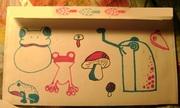 Black, Magenta, and Teal Mushroom Envelope Back