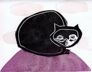 purple tiny  linocut postcard
