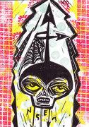 nsew skull colored  linocut postcard