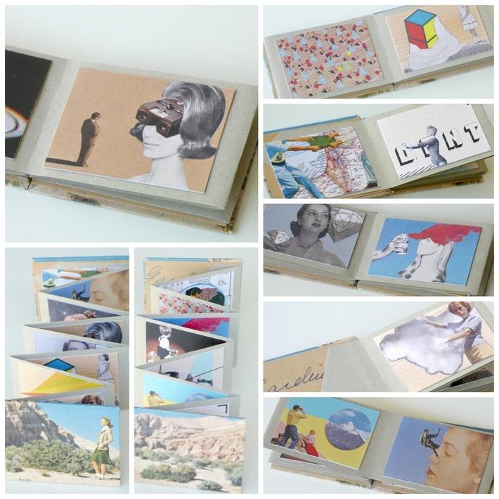 Accordion book of mini collages
