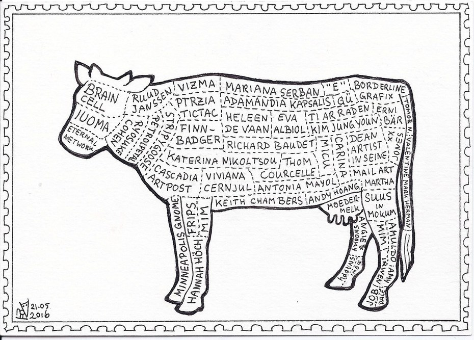 Out: mail art cow