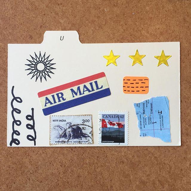 June mail art tiny postcard