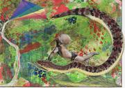 Postcard snake baby kite