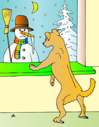 Dog and snowman 1cx col S