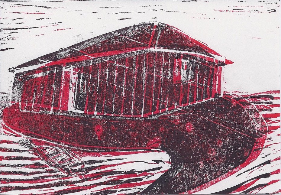 In: house, water, boat in print