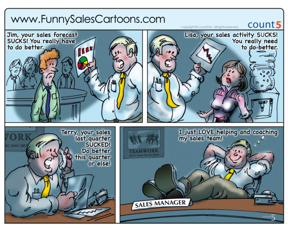 Sales Coaching Best Practices Cartoon