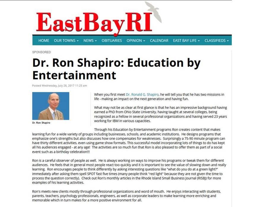 EastBayRI -- Dr. Ron Shapiro -- Education By Entertainment 2017-07-26