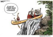 canoe over the falls
