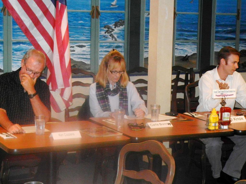 City Council candidates Ken Cozzens, Carla Bonney, Bill Knox