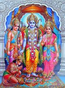 Hanuman is prostrating to Lakshmana, Rama and Sita