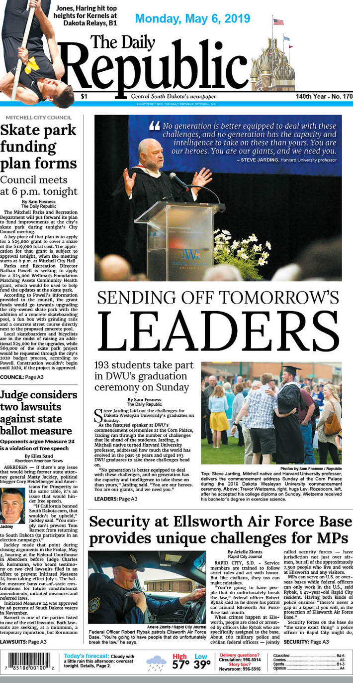 The Daily Republic (Mitchell, S.D.) front page