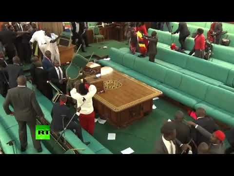 Massive brawl breaks out in Ugandan parliament over presidential age limit