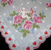 Cupid Among PINK Roses Vintage Valentine Handkerchief Hankie