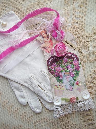 Vintage Valentine Bride Mixed Media Collage Tags