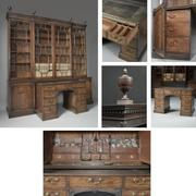 IMPORTANT GEORGE III MAHOGANY LIBRARY BREAKFRONT BOOKCASE, CENTERED BELOW BY A PEDESTAL LIBRARY WRITING TABLE c1770