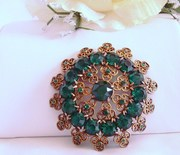 Large Vintage Green Rhinestone Brooch