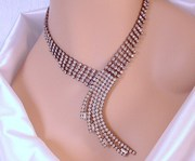 Vintage Sparkling Art Deco Waterfall Choker Necklace