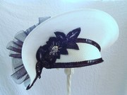 Vintage Deborah NY Fancy Sequined Straw Tilt Hat