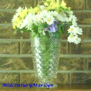 Anchor Hocking Wexford Vase Vintage Clear Pressed Glass Large Footed