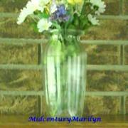 Vintage FTD Vase Large Clear Pressed Glass Combed Glass Effect