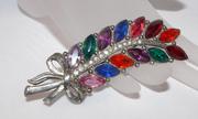 Rainbow Rhinestone brooch vintage jewelry