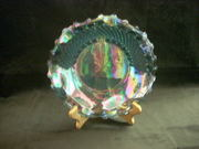 blue carnival glass front view