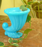 Antique Blue Milk Glass Shell Toothpick Holder