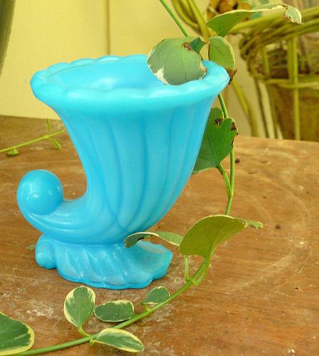 Antique Blue Milk Glass Shell Toothpick Holder