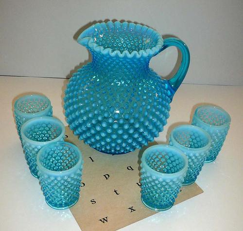 Vintage Fenton Hobnail Aqua Pitcher and Cups