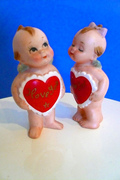 Kewpie Style Bisque Doll Set Japan