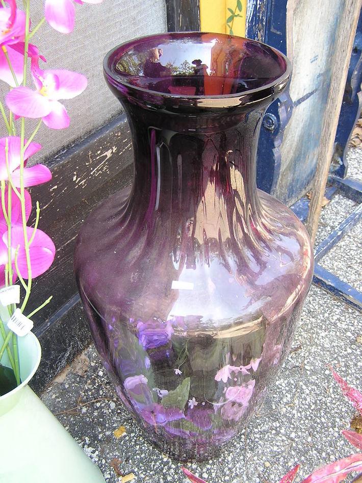 24 inch amethyst color glass vase $29